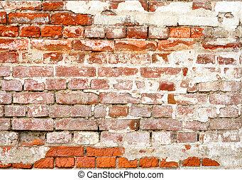 gammal, tegelsten vägg
