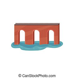 gammal, tegelsten, välva, bridge., konstruktion, för, transportation., arkitektur, theme., lägenhet, vektor, element, för, mobil, lek
