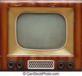 gammal, television färdig