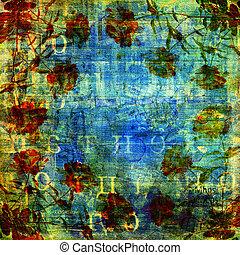 gammal, text, abstrakt, sönderrivet, bakgrund, fläck,...