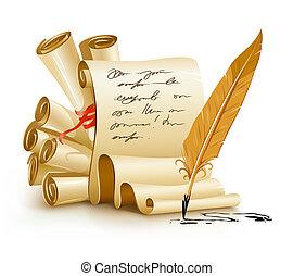 gammal, text, bläck, papper, skrifter, handstil, fjäder