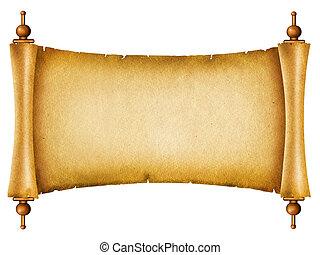 gammal, text, papper, texture.antique, bakgrund, vit, rulla