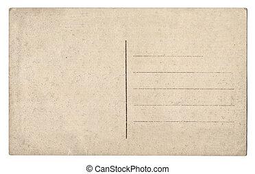 gammal, tom, vykort, isolerat, vita