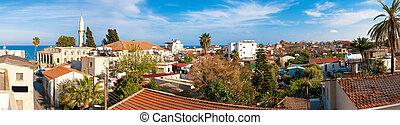 gammal, town., panorama, taktopp, larnaca., utsikt., cypern
