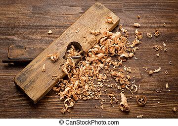 gammal, Trä, Årgång, verktyg, snickare, bord,  jointer