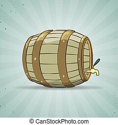 gammal, trä, beer., keg., naturlig, trumma, eller, fyllt, ...