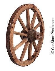 gammal, trä, hjul, på, den, vit fond