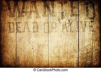 gammal, trä, underteckna, wall., västra, viljat