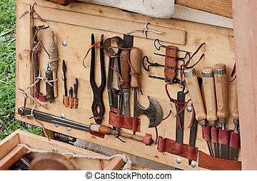 gammal, träbearbetning, redskapen