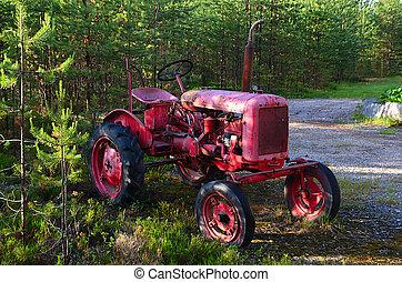 gammal, traktor