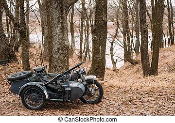 gammal, tricar, trehjuliga, motorcykel, med, kulspruta, på, sidvagn