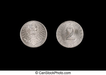 gammal, två, groschen, mynt, från, österrike