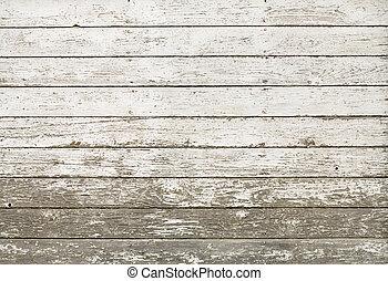 gammal, vägg, rustik, vit, planka, ladugård