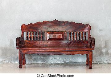 gammal, vägg, soffa, ved, bakgrund, grunge, stol