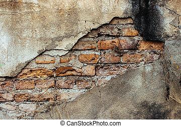 gammal, vägg, struktur, bakgrund, tegelsten, knäckt
