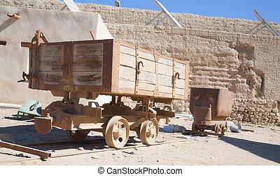 gammal, vagnar, tåg