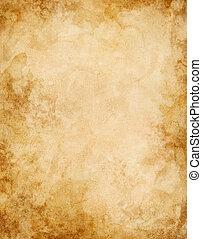 gammal, vatten, fläckat, papper