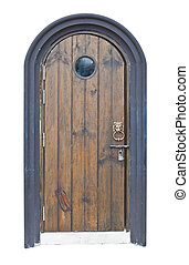 gammal, ved, dörr, med, lejon, handtag, isolerat, vita, bakgrund