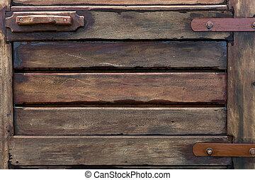 gammal, ved, dörr, struktur