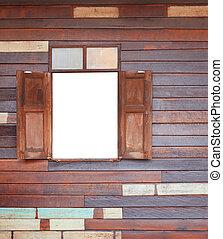 gammal, ved, fönster, på, trä vägg, av, h