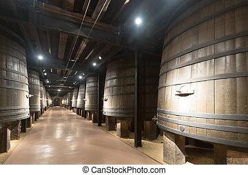 gammal, vintillverkare, foto, inre