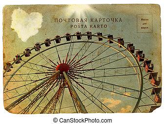 gammal, vykort, med, a, stor, ferris, wheel.