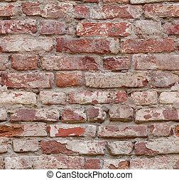 gammal, wall., seamlessly, belägga med tegel, tegelsten, röd