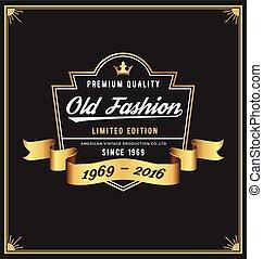 gammalt sätt, ram, &, etikett, design, för, dräkt, whiskey, vin, jeans, läder, bryggeri, öl, årgång, product., vektor, illustration