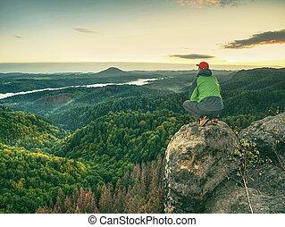 gamme, bord, homme, hrensko, falaise, summit.