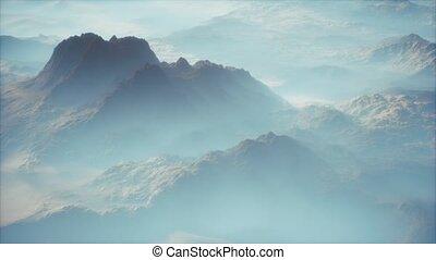 gamme, mince, vallées, montagne, lointain, brouillard, couche