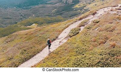 gamme, photographe, sac à dos, voyageur, affichage montagne, escalade, aérien