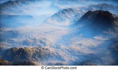 gamme, vallées, montagne, lointain, couche, brouillard, mince