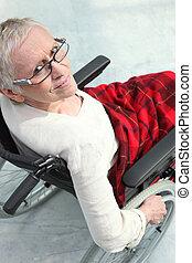 gammel dame, ind, wheelchair