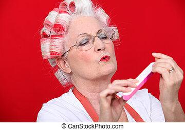 gammel kvinde, ind, ruller