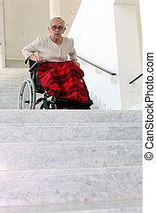 gammel kvinde, ind, wheelchair