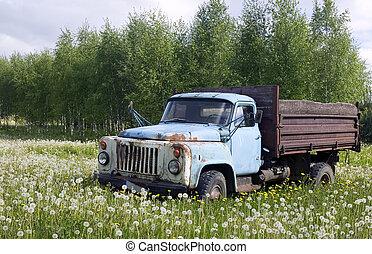gammel lastbil, ind, natur, begreb