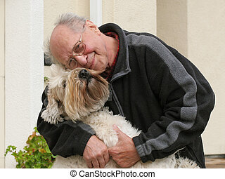 gammel mand, og, hans, hund