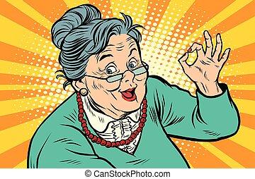 gammelagtig, gestus, bedstemor, i orden