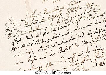 gammelt brev, hos, handwritten, text., grunge, vinhøst, avis, tekstur