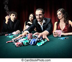gana, casino, hombre, elegante
