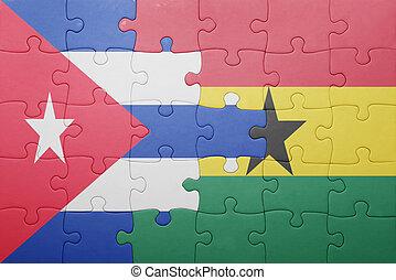 gana, quebra-cabeça, bandeira, nacional, cuba