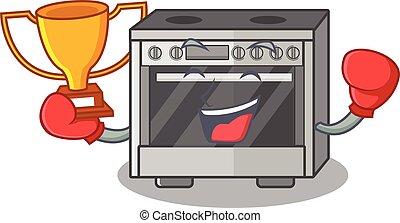 ganador, boxeo, mascota, fantástico, cocina, diseño, caricatura, estufa