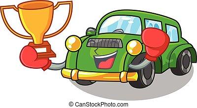 ganador, coche clásico, boxeo, forma, juguetes, caricatura