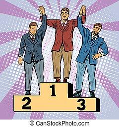 ganador, competición, perdedor, empresa / negocio