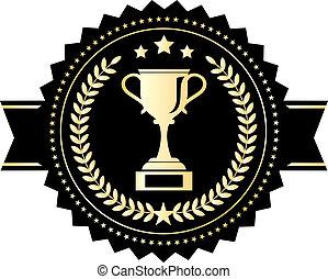 ganador, emblema, taza