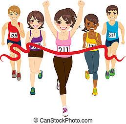 ganador, hembra, maratón