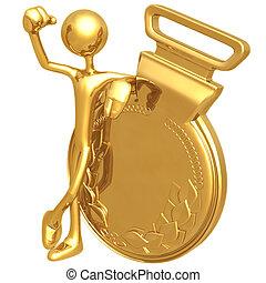ganador, medalla, oro