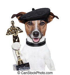 ganador, perro, premio
