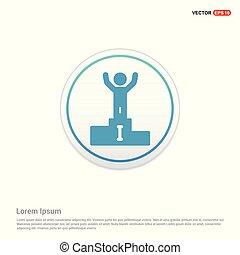 ganador, podio, icono, -, círculo blanco, botón