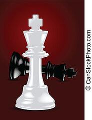 ganador, rey, -, ajedrez, vector, blanco